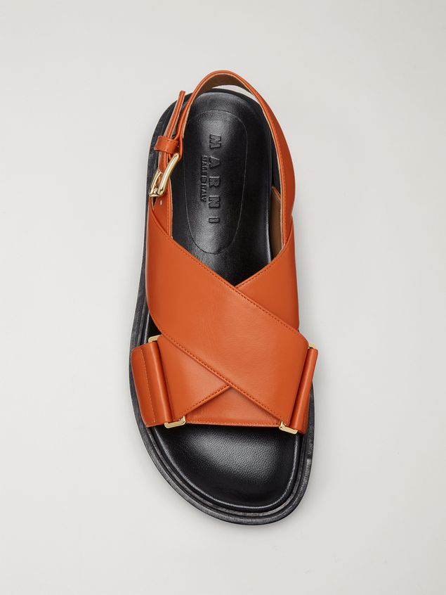 Marni  Criss-cross fussbett in orange leather Woman - 4