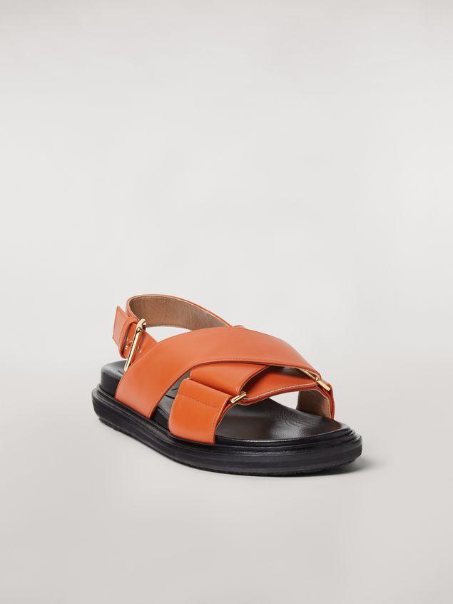 Marni  Criss-cross fussbett in orange leather Woman - 2