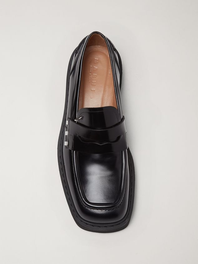 Marni Shiny calfskin moccasin with brass accessories Man - 4