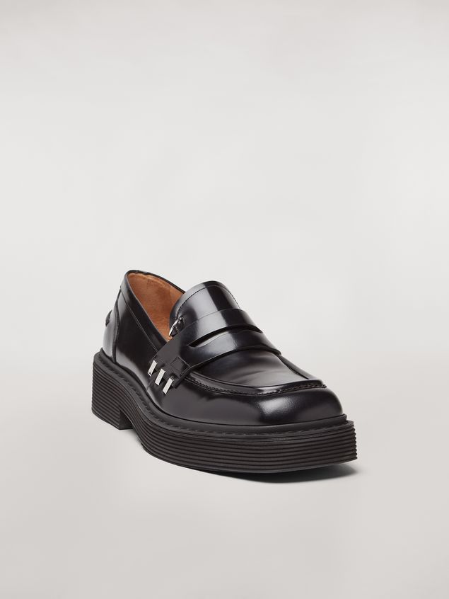 Marni Shiny calfskin moccasin with brass accessories Man - 2