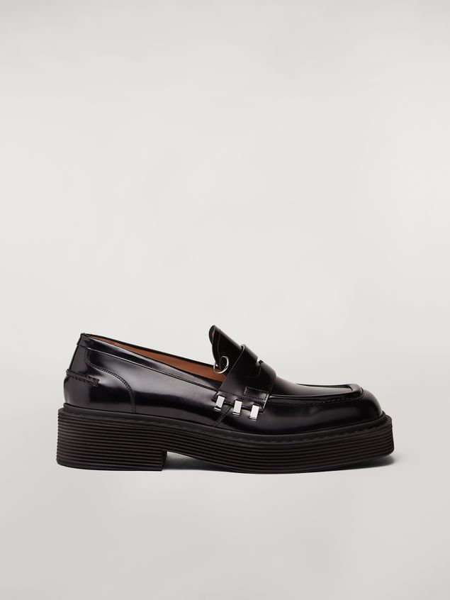 Marni Shiny calfskin moccasin with brass accessories Man - 1