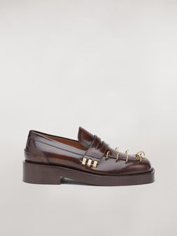 Marni PIERCING brushed calfskin moccasin Woman