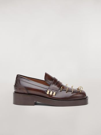 Marni PIERCING brushed calfskin moccasin Woman f