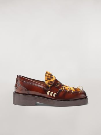 Marni PIERCING moccasin in leopard print pony calfskin Woman