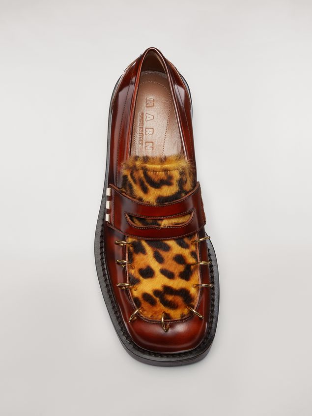 Marni PIERCING moccasin in leopard print pony calfskin Woman - 4