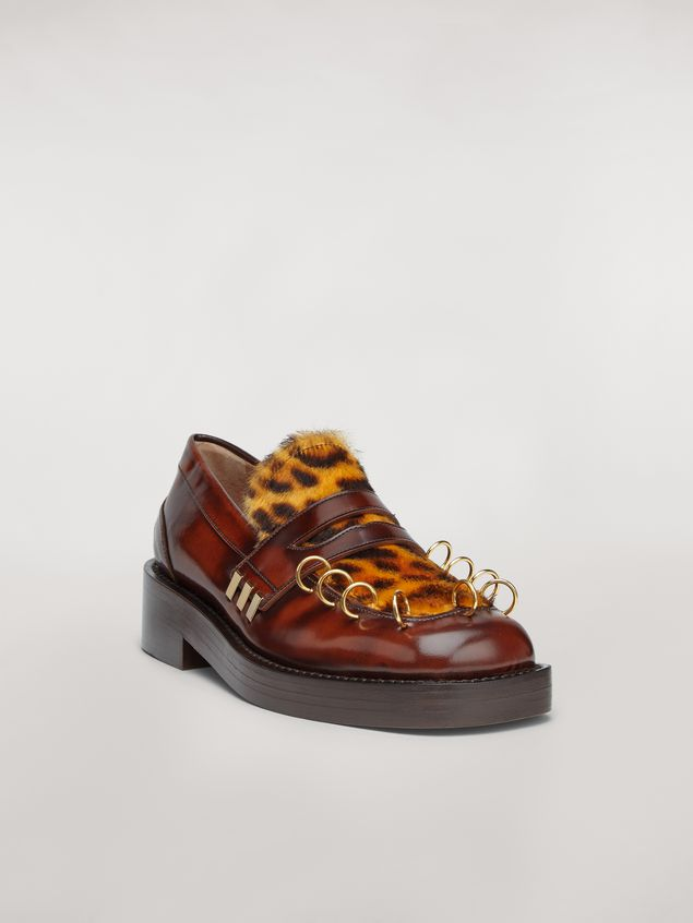 Marni PIERCING moccasin in leopard print pony calfskin Woman - 2