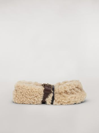 Marni BUCKLE ballerina in white shearling Woman f