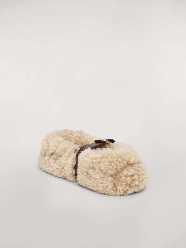Marni BUCKLE ballerina in white shearling Woman - 3