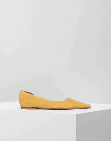 SHOES Leather flats Ochre