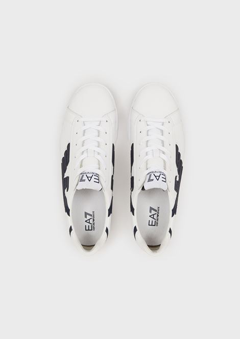 Leather sneakers with printed logo