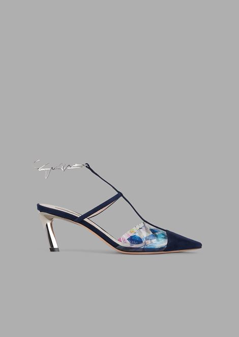 Satin and vinyl court shoes with contoured signature strap