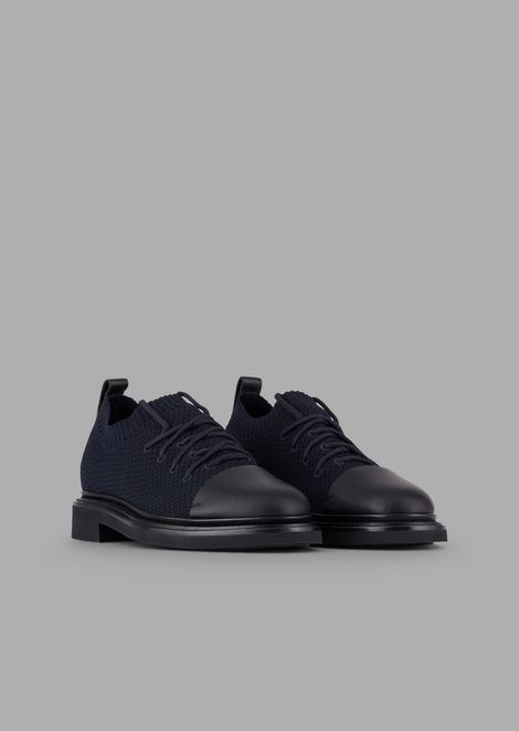 Derby shoes in stretch fabric with toe and details in brushed leather