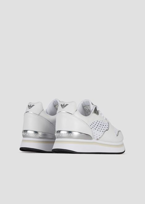 High-sole sneakers with perforated upper