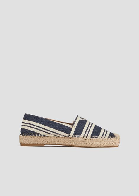 Espadrilles in striped canvas with straw edges