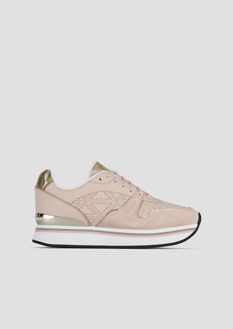 High-sole suede sneakers with metallic details