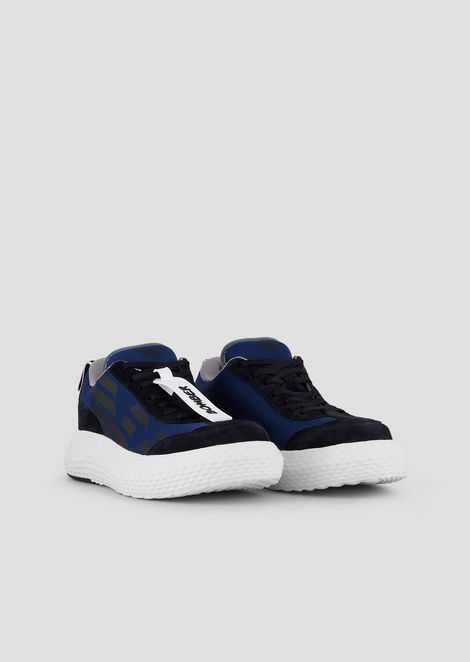 Suede sneakers with logo and chunky sole