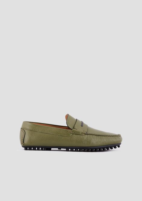 Driver moccasins in leather with Emporio Armani logo