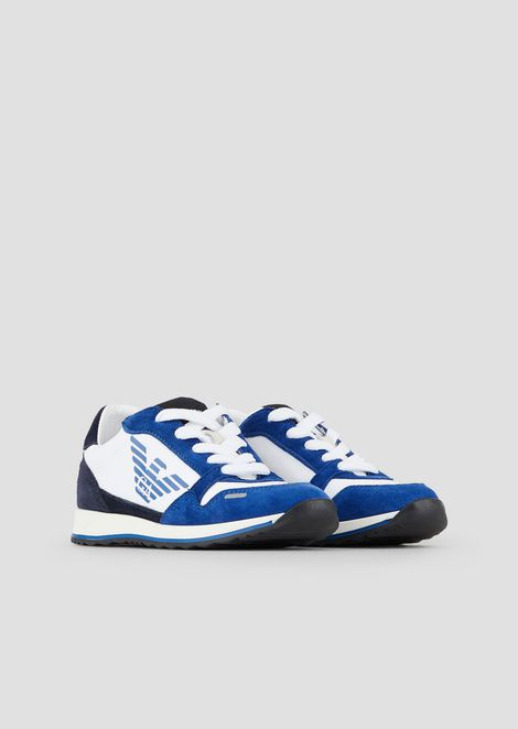 Sneakers in suede and technical fabric with logo