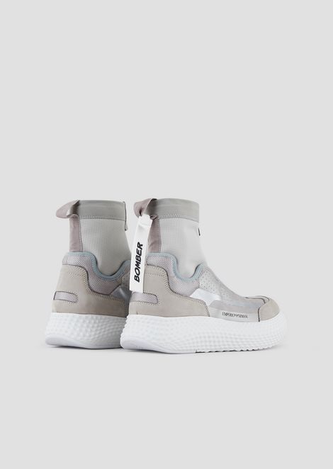 High-top sneakers in nubuck and nappa leather with mesh inserts and center zip