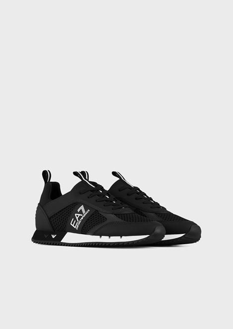 Black&White Laces sneakers in mesh with metallic logos on the sole