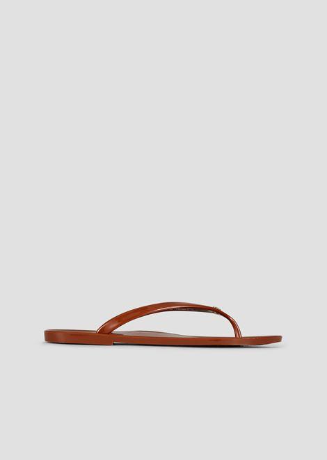 浮雕徽标夹趾凉鞋