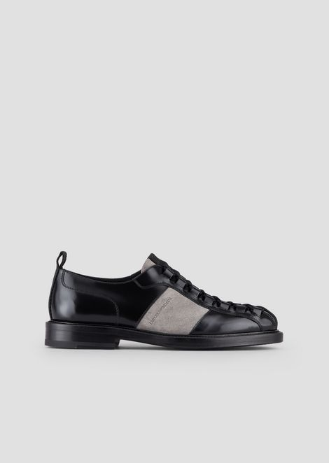 Lace-ups in abraded leather with cow suede insert