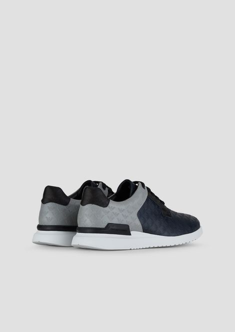 Leather sneakers with all-over monogram motif