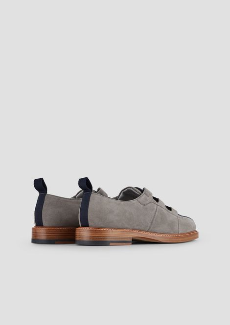 Lace-ups in cow suede with grosgrain insert