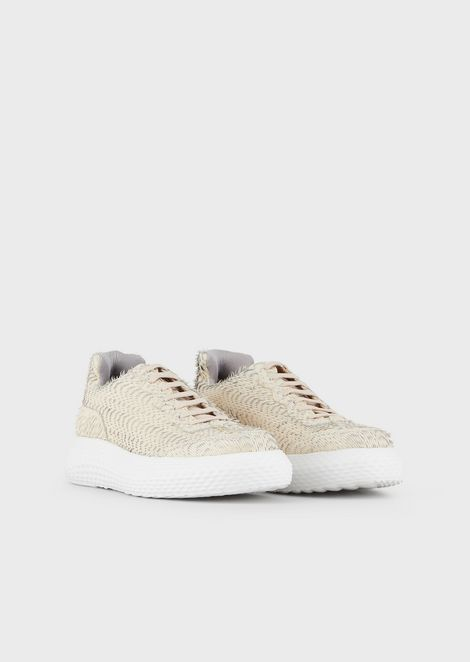 Sneakers in textured leather with contoured sole