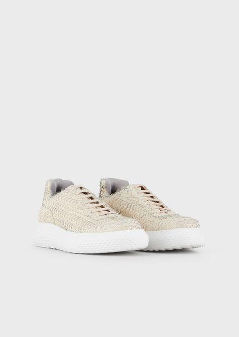 Sneakers in pelle lavorata con suola bombata