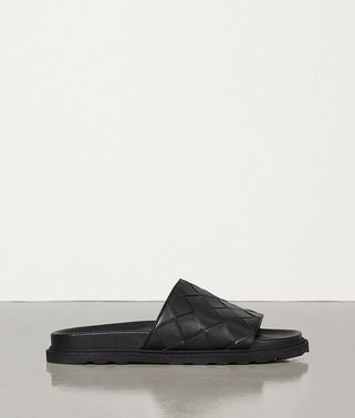 SLIDES IN INTRECCIATO CALF LEATHER