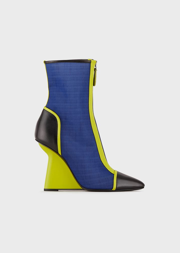 19833751c2a2 Ankle boots in mesh and nappa leather with asymmetric heel