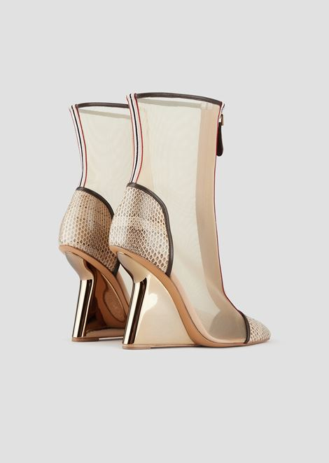 Ankle boots in mesh and snakeskin nappa leather with asymmetric heel