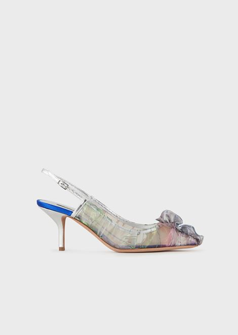 Slingback court shoes in a pleated fabric with ruches at the toes