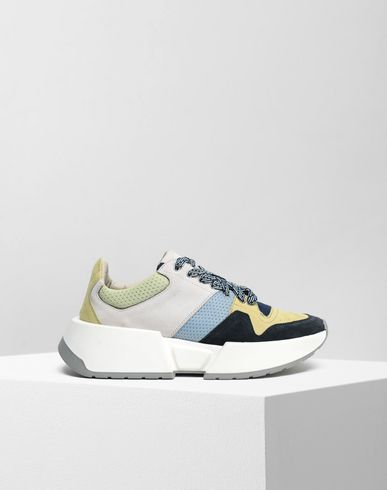 Colour block leather sneakers