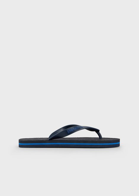 Flip-flops in rubber with all-over logo