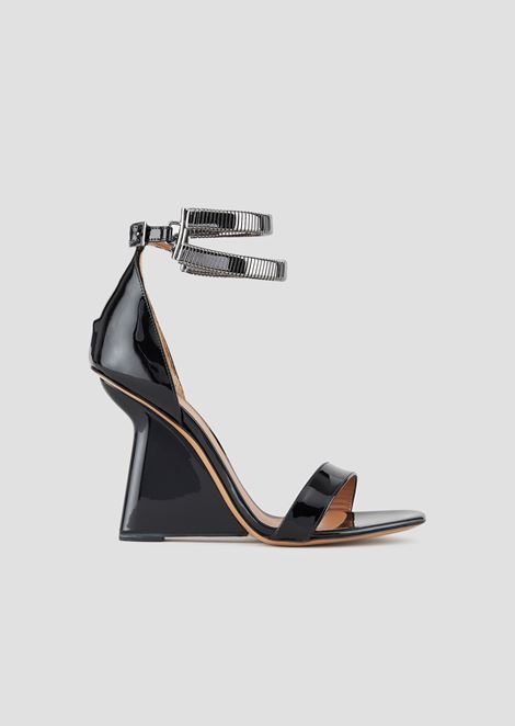 a8772e4d8f4e Sandals in patent nappa leather with asymmetric heel and metal link straps