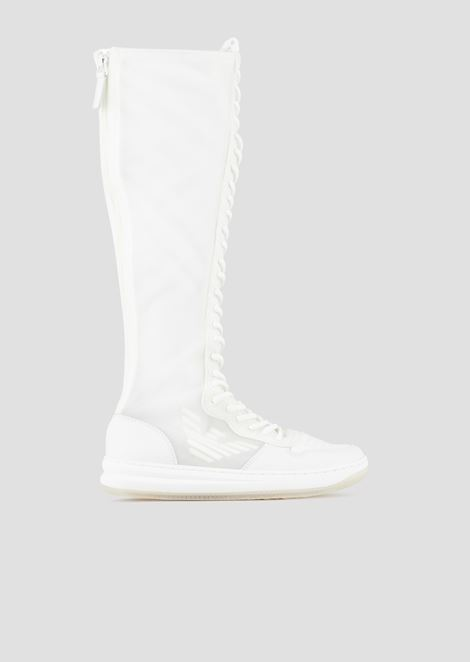 Sneaker boots in mesh and nappa leather with the logo
