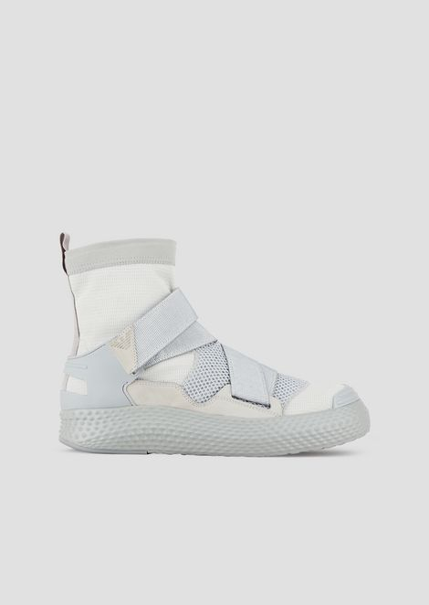 High-top sneakers with straps and contoured sole