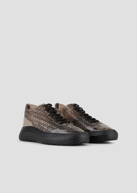 Sneakers in woven-effect rubber with contoured sole