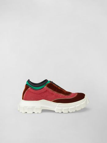 Marni Lace-up sneaker in two-tone velvet Woman f