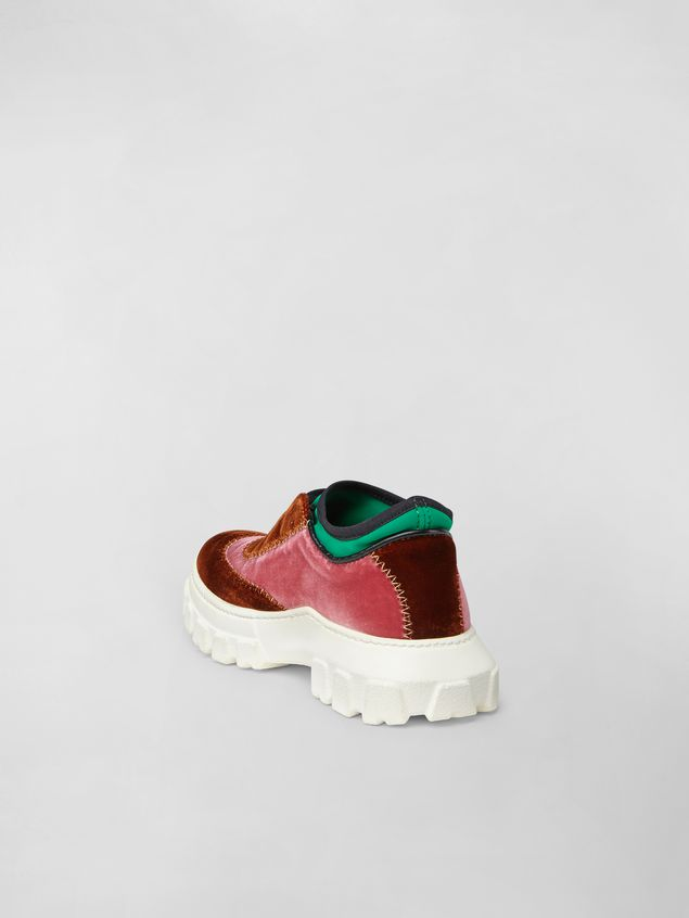 Marni Lace-up sneaker in two-tone velvet Woman