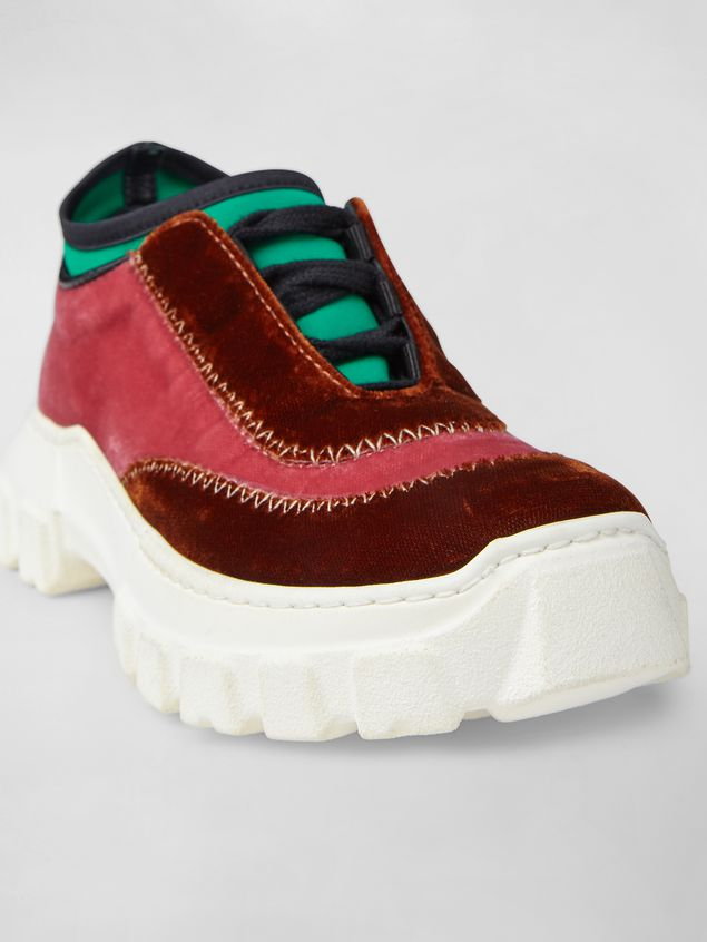 Marni Lace-up sneaker in two-tone velvet Woman - 5