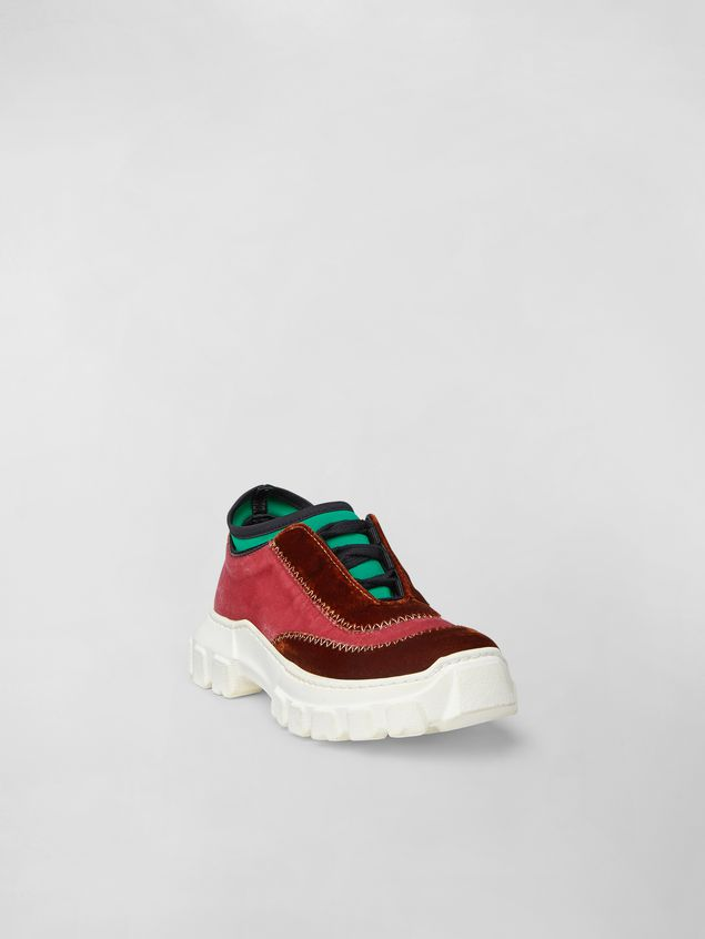 Marni Lace-up sneaker in two-tone velvet Woman - 2