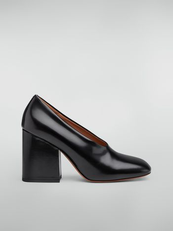 Marni Rising upper pump in black polished leather  Woman f