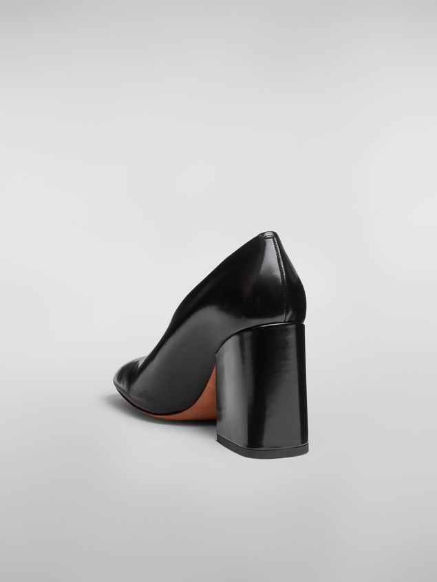 Marni Rising upper pump in black polished leather  Woman
