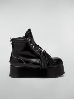 Marni Lace-up bootie in polished leather Woman