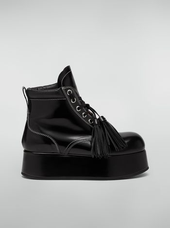 Marni Lace-up bootie in polished leather Woman f