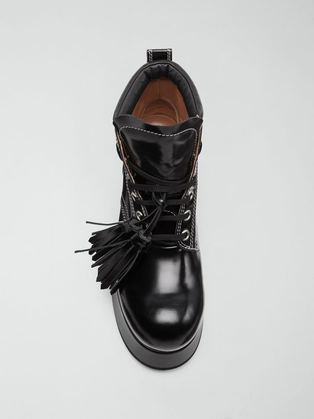 Marni Lace-up bootie in polished leather Woman - 4