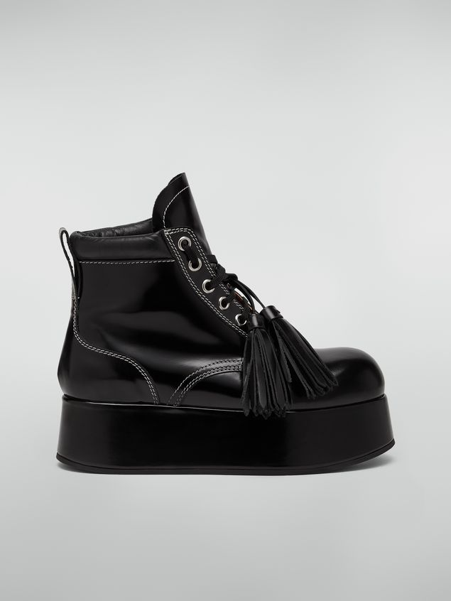Marni Lace-up bootie in polished leather Woman - 1